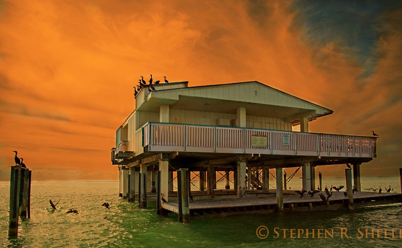 Stiltsville Brilliantly Orange Sunrise