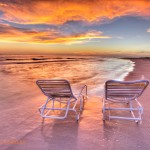 Palm Island Sunset Empty Chairs